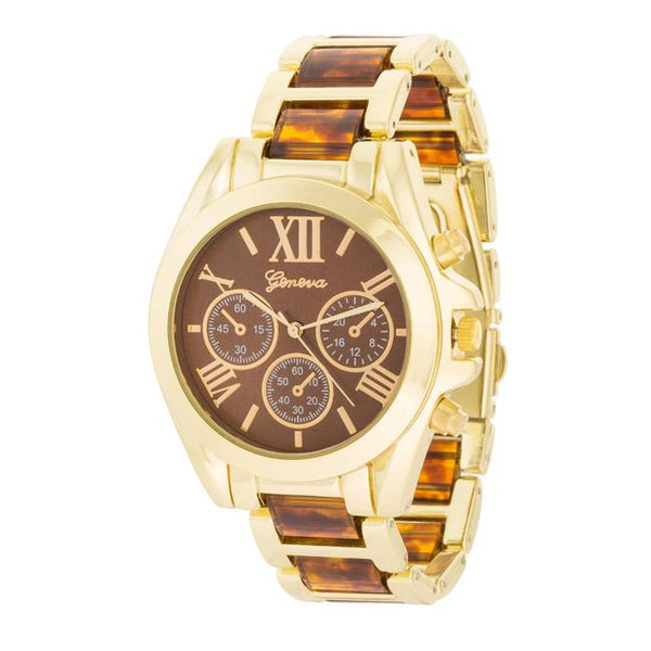 "*[WTC]-Tortoise And Goldtone Watch With Roman Numerals - jewelz by julz...""The Collection!"""