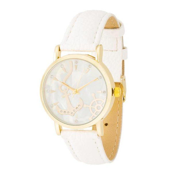 "[WTC]-Gold & White Nautical Faux Leather Grain Watch - jewelz by julz...""The Collection!"""