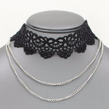 "*[N/L]-Lace Layered Choker Necklace-Black with Silvertone Chain - jewelz by julz...""The Collection!"""