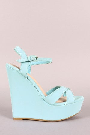 Bamboo Cross Strap Open Toe Wedge