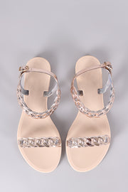 Bamboo Jelly Metallic Chain Flat Sandal