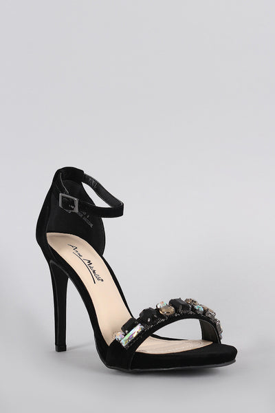 Anne Michelle Suede Jeweled Ankle Strap Stiletto Heel - g.e.llc•Style