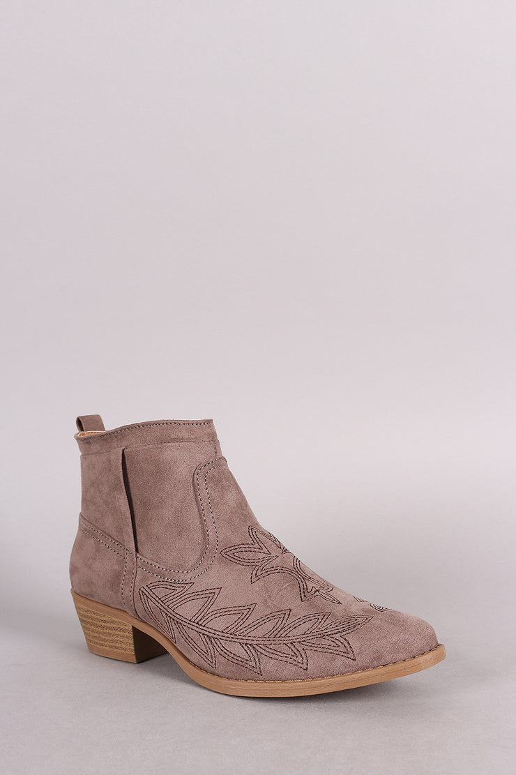 Qupid Suede Embroidered Western Ankle Boots - g.e.llc•Style