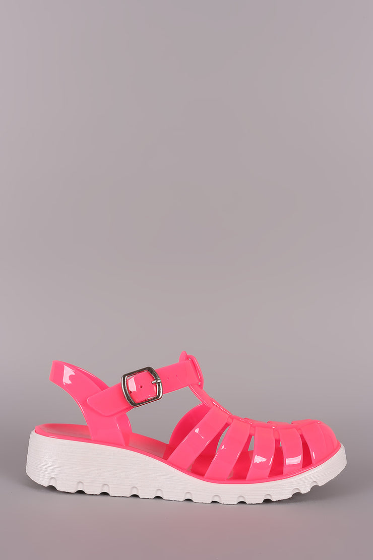 Bamboo Fisherman Buckled Jelly Flatform Sandal