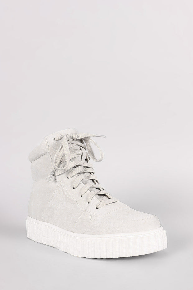 Nubuck Round Toe Lace Up High Top Creeper Sneaker - g.e.llc•Style