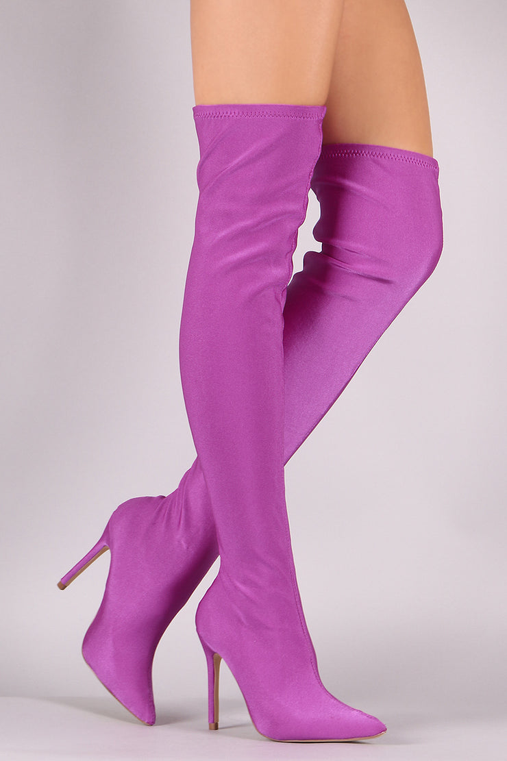 Elastane Pointy Toe Stiletto Over-The-Knee Boots