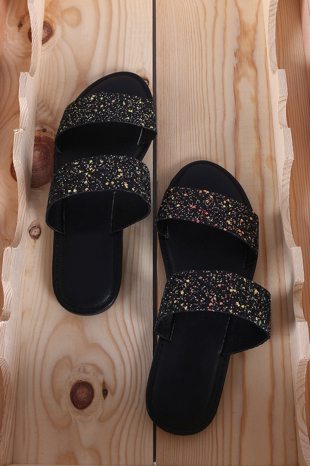 *Glitter Encrusted Open Toe Double Band Slide Sandal