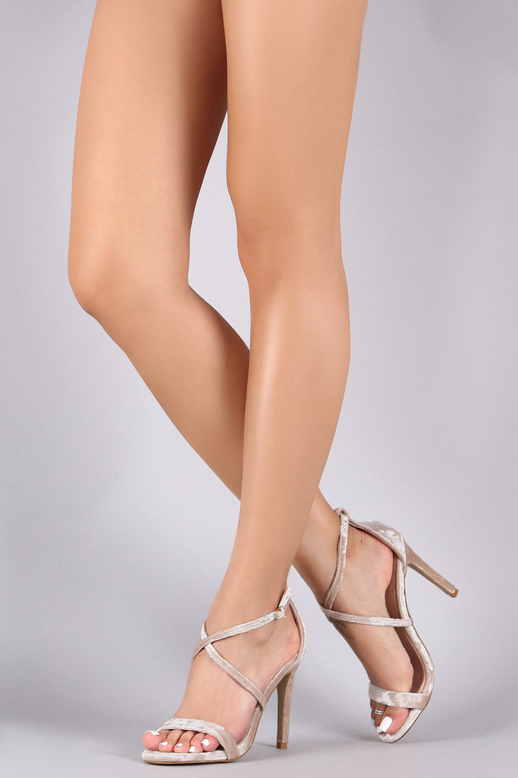 Crushed Velvet Open Toe Crisscross Stiletto Heel