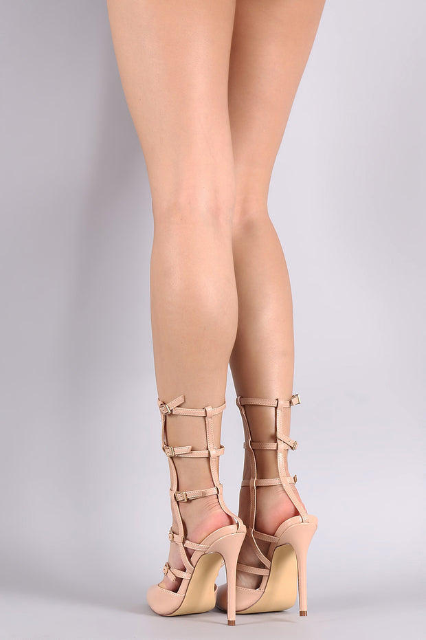 Liliana Pointy Toe Buckle Accent Caged Stiletto Pump