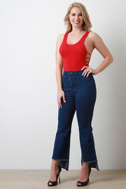 High Waist Square Raw Hem Denim Jeans