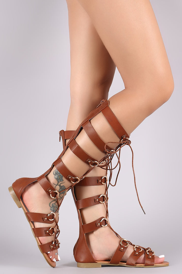 O-Ring Accent Strappy Lace-Up Gladiator Flat Sandal