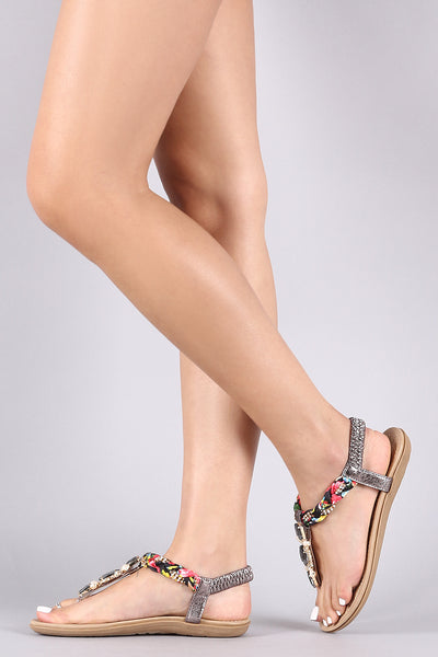 Jeweled Embellished T-Strap Flat Sandal