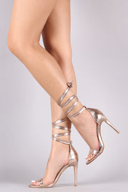 Cracked Metallic Leg Wrapped Stiletto Heel