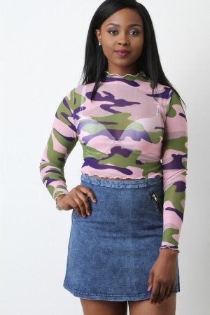 Lettuce-Edge Camo Mesh Crop Top
