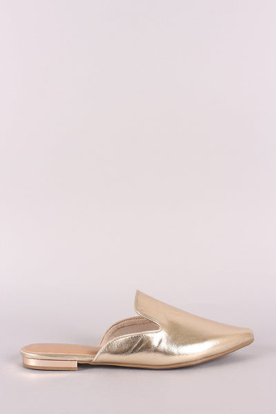 Bamboo Metallic Pointy Toe Mule Flat