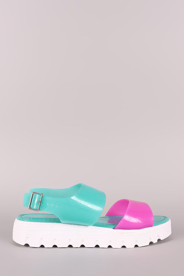 Bamboo Colorblock Lug Sole Jelly Flatform Sandal