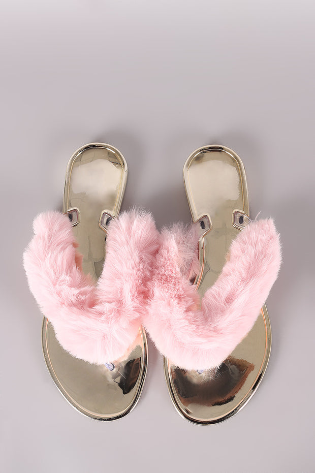 Bamboo Faux Fur Thong Jelly Sandal
