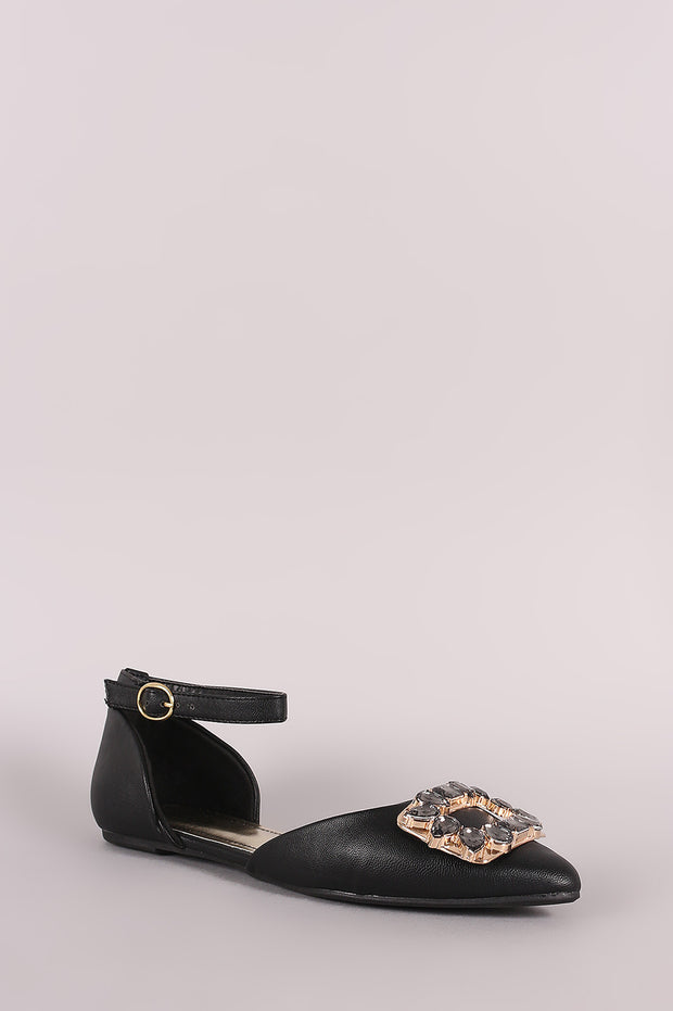 Bamboo Jeweled Ornament Ankle Strap Dorsay Flat