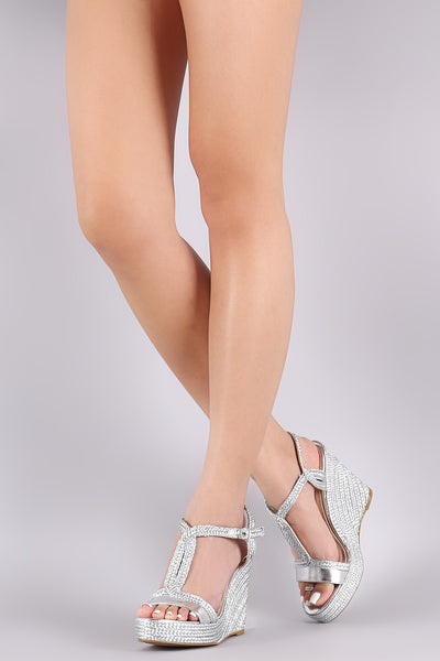 Bamboo Metallic Braided Espadrille Open Toe Platform Wedge