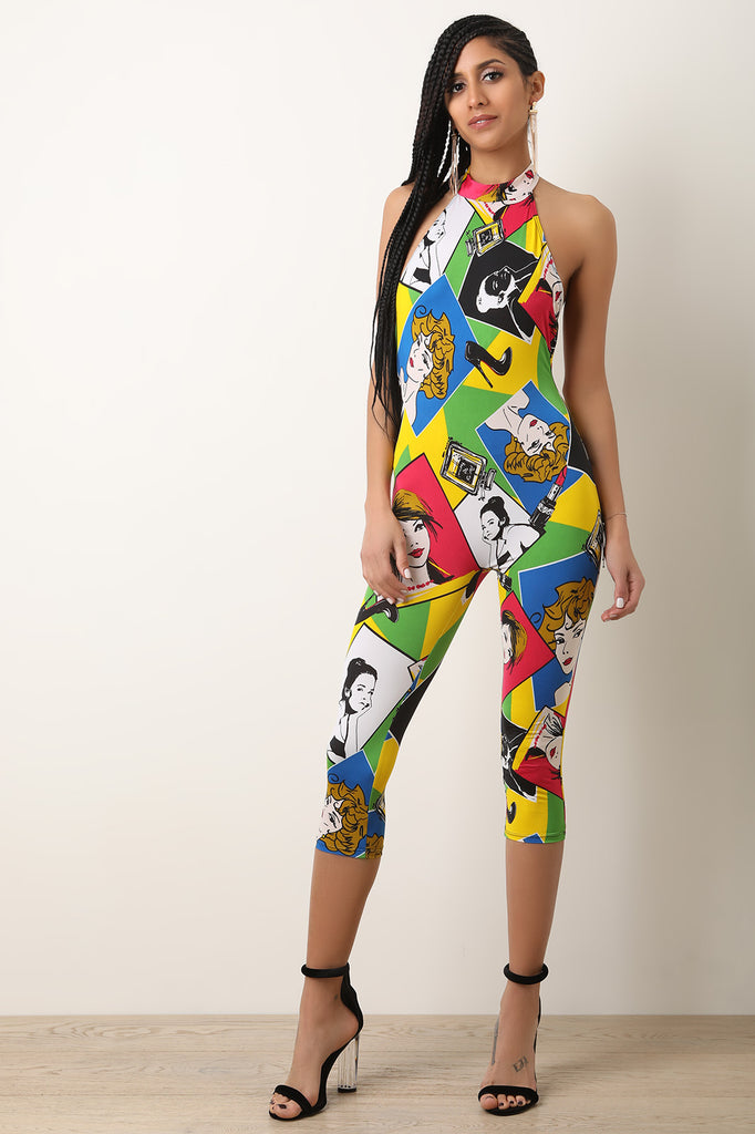 Pop Art Halter Capri Jumpsuit
