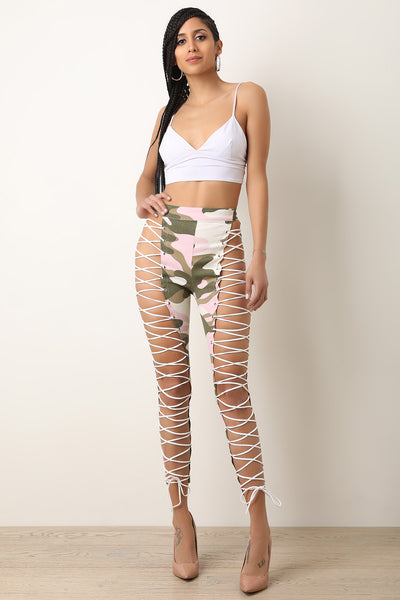 Camouflage High Rise Lace-Up Pants