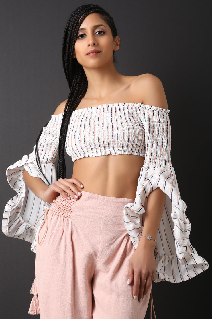 Striped Smock Bardot Ruffle Statement Sleeve Top