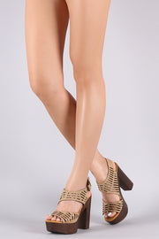 Bamboo Leather Cutout Ankle Strap Platform Chunky Heel