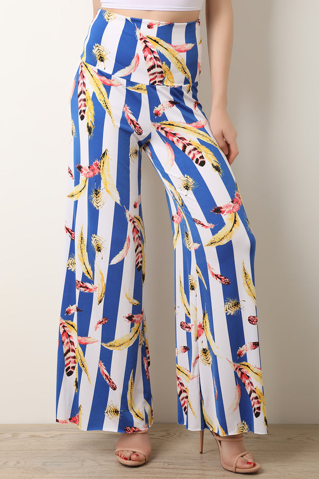 High Rise Stripe And Feathers Print Palazzo Pants