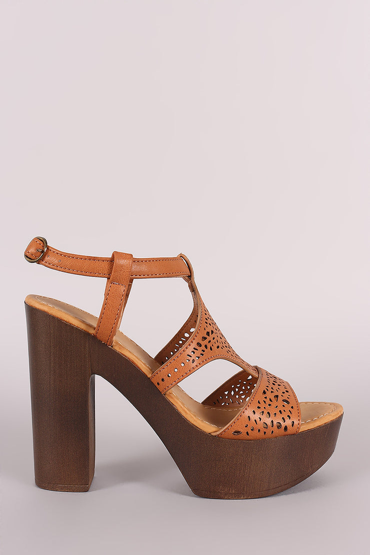 Bamboo Perforated Wooden Chunky Heel