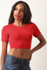 Jersey Knit Colorful Side Ribbon Crop Top