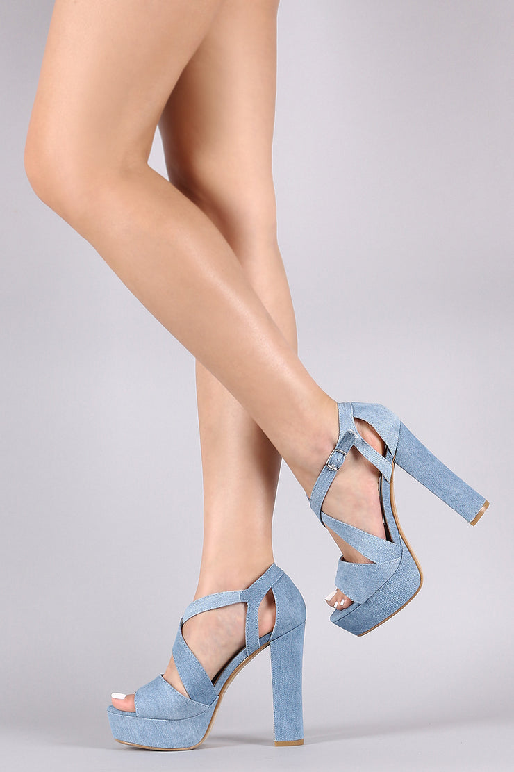 Denim Crisscross Open Toe Chunky Platform Heel