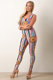 Backless Medallion Stripe Print Jumpsuit
