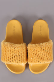 Bamboo Metallic Accent Faux Fur Slide Sandal