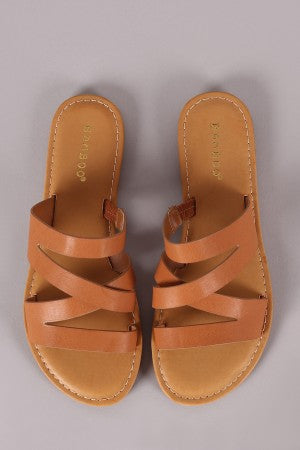 Bamboo Open Toe Strappy Slide Sandal