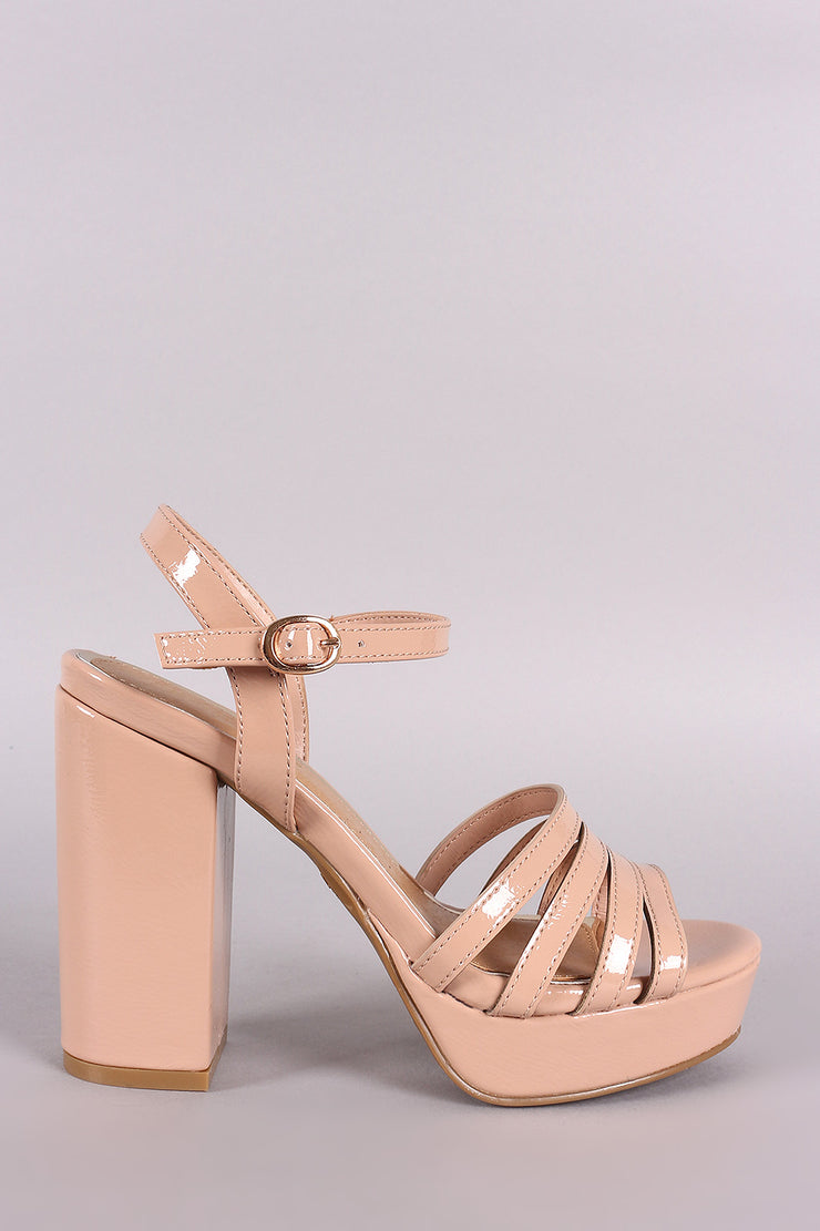 Bamboo Strappy Ankle Strap Platform Chunky Heel