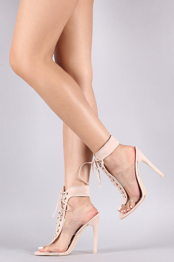 Suede Open Toe Clear Strap Lace Up Stiletto Heel