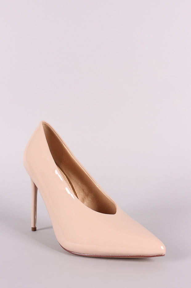 Liliana Patent V Cut Pointy Toe Stiletto Pump