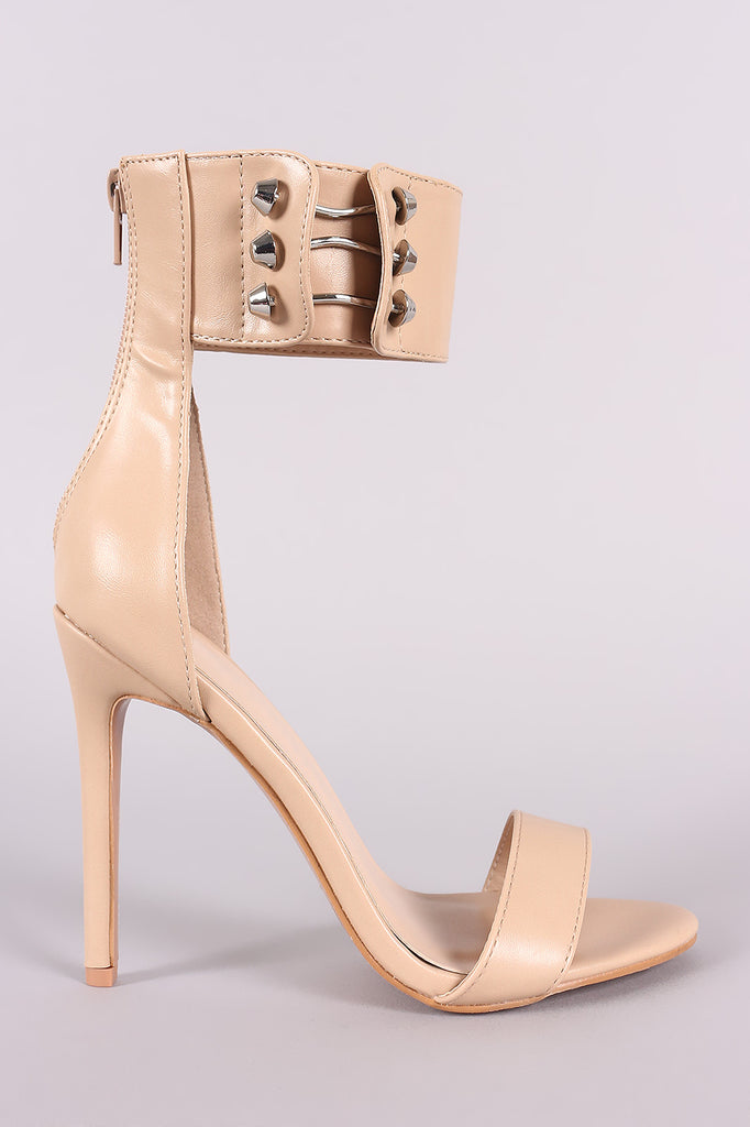 Hardware Accent Ankle Cuff Open Toe Stiletto Heel