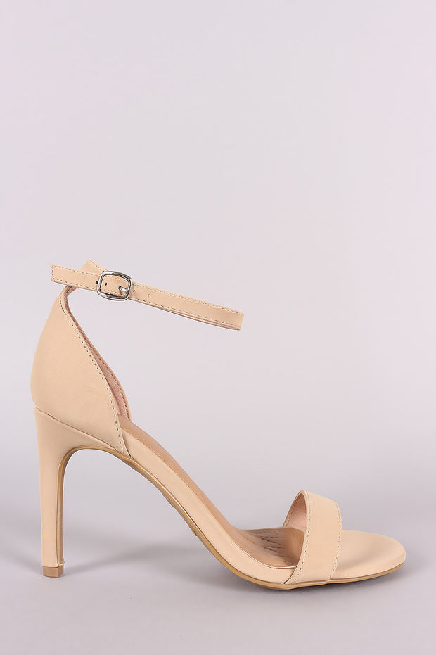 Anne Michelle Nubuck Ankle Strap Single Sole Heel