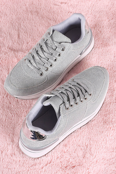 Qupid Glitter Lace-Up Low Top FlatformSneaker