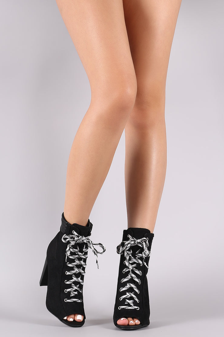 Qupid Suede Peep Toe Lace Up Chunky Heeled Booties