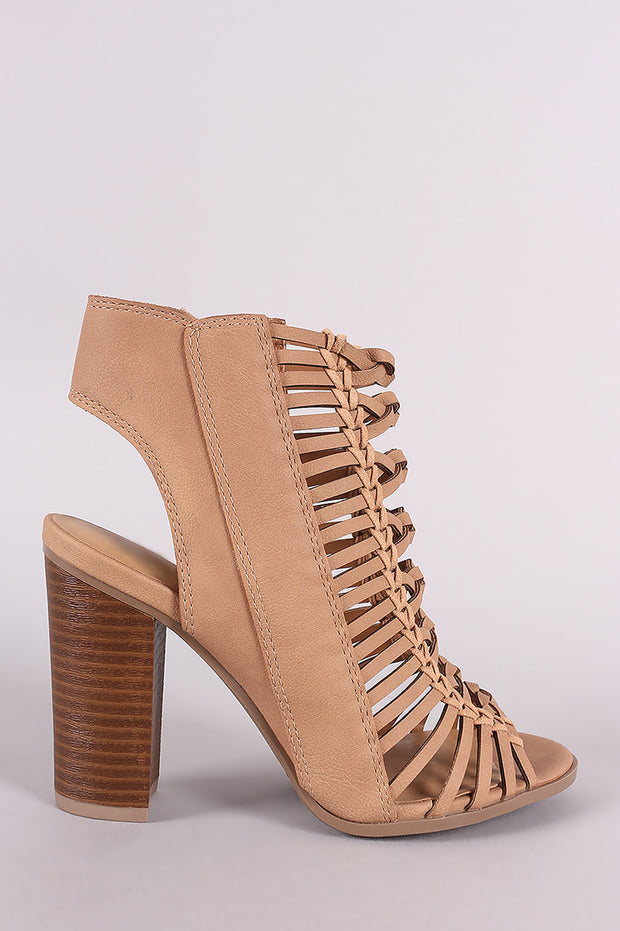 Delicious Braided Caged Chunky Heel