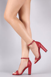 Stud Embellished Ankle Strap Open Toe Chunky Heel