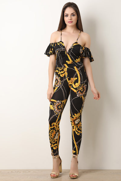 Filigree Rope Flutter Bardot Jumpsuit