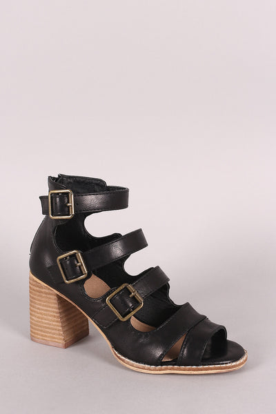 Buckle Ladder Straps Stacked Chunky Heel