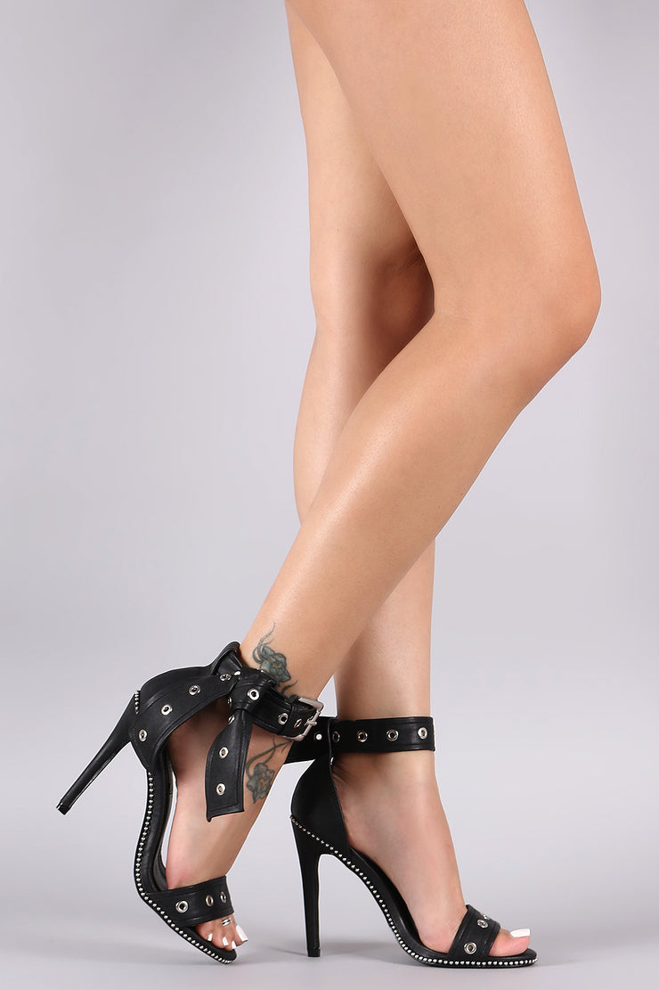 Eyelet Open Toe Beaded Trim Stiletto Heel