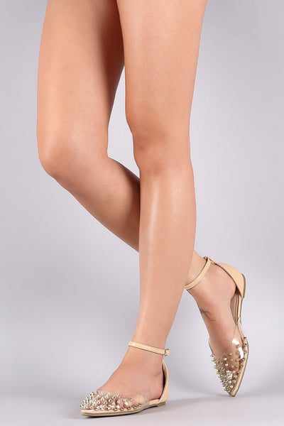 Liliana Transparent Studded Pointy Toe Ankle Strap Flat