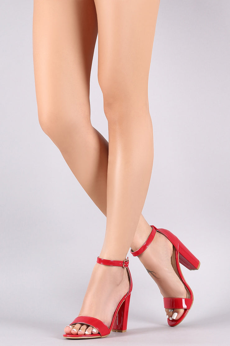 Bamboo Patent Leather Open Toe Ankle Strap Chunky Heel