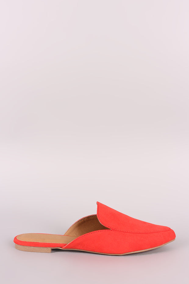 Qupid Suede Pointy Toe Mule Loafer Flat