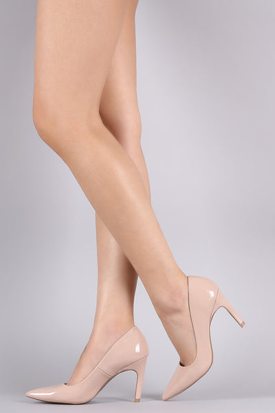 Qupid Crinkled Patent Pointy Toe Pump